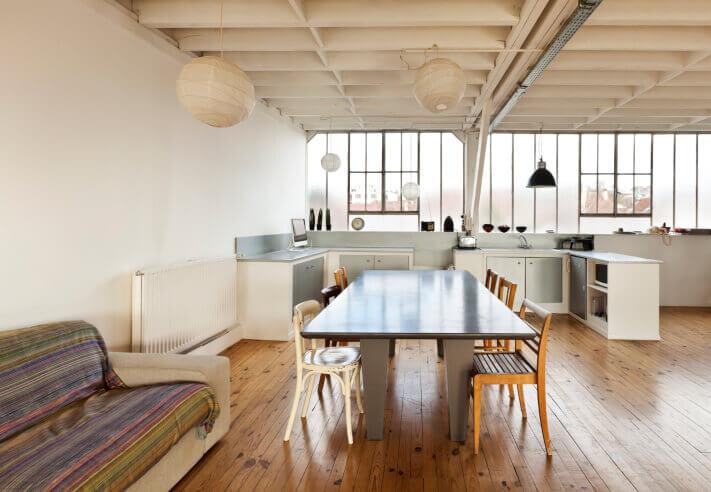 Loft kitchen with industrial design