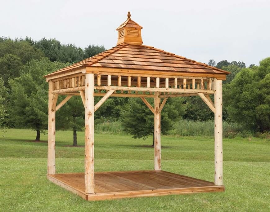 Gazebo Designs on rustic log cabin deck