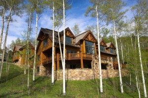 Large log home in the forest