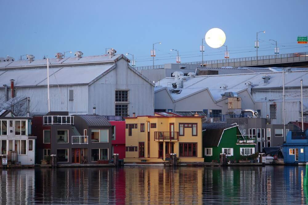 Floating homes in Vancouver, B.C.