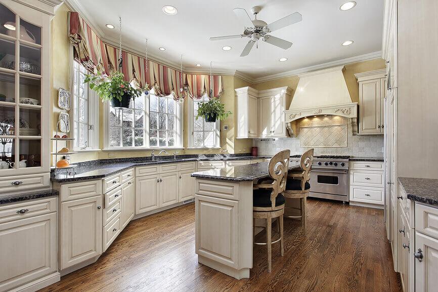 Luxury white kitchen with island