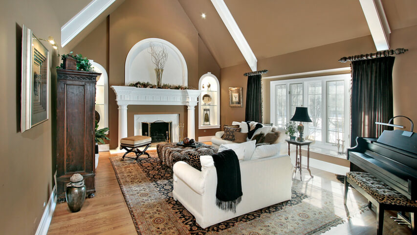 Luxury living room with cathedral ceiling