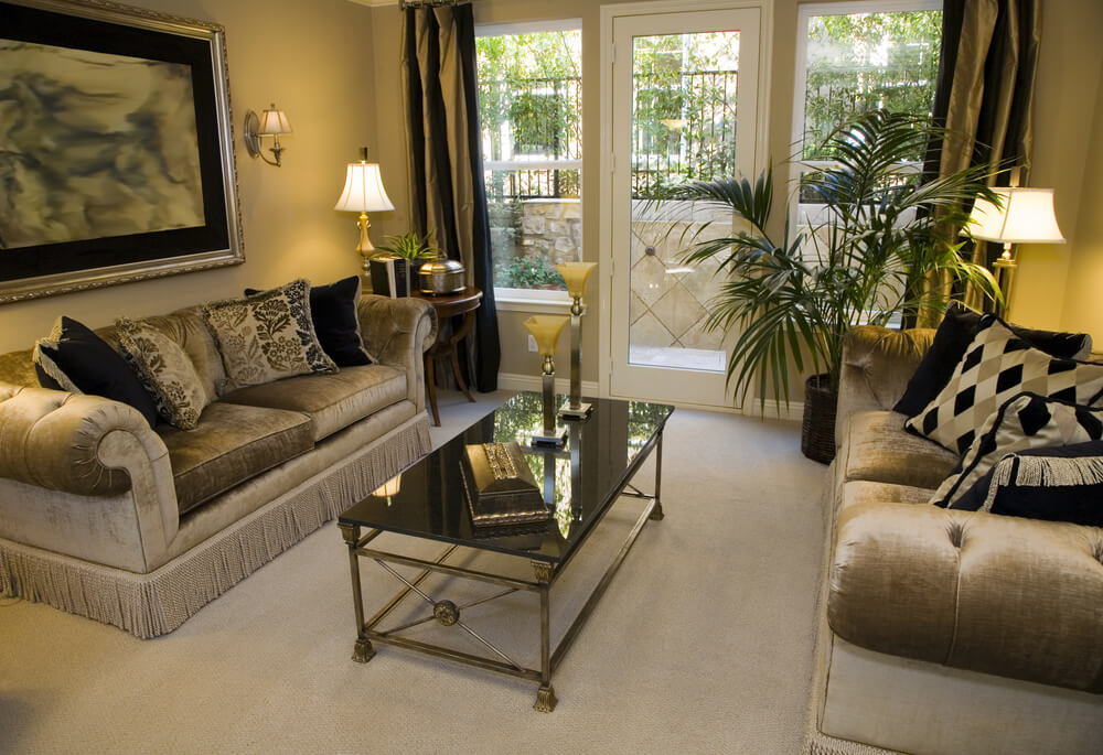 Charcoal And Gold Living Room