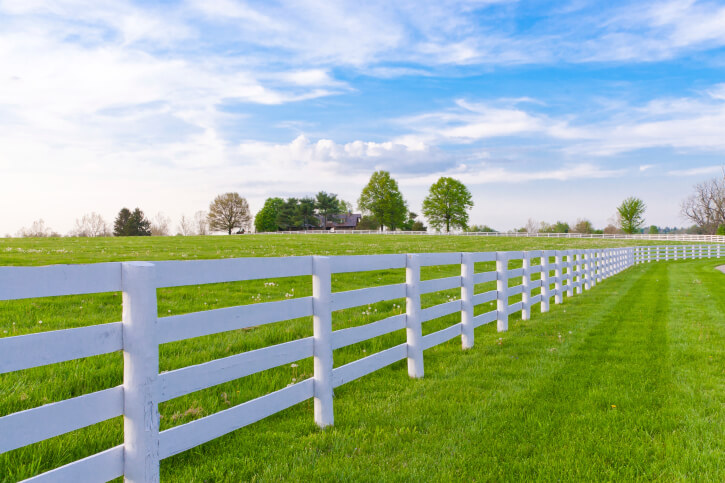 Waist height white fence with round pole-style vertical posts and four horizontal widely spaced slats.