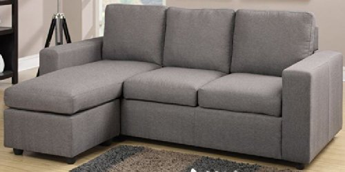 Another stylish grey reversible sectional featuring linen-like upholstery and a cozy contemporary space : sectional apartment sofa - Sectionals, Sofas & Couches