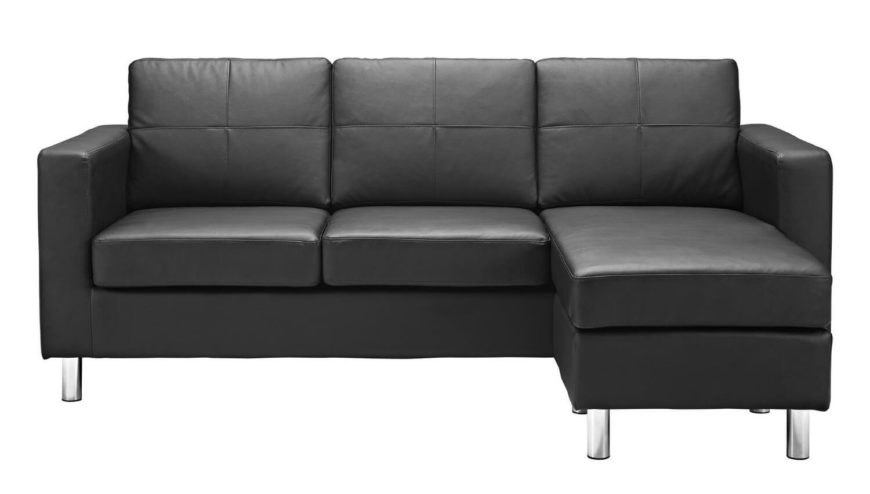 This stylish leather-look sectional sofa is perfect for small areas boasting a reversible  sc 1 st  Home Stratosphere : small black sectional sofa - Sectionals, Sofas & Couches