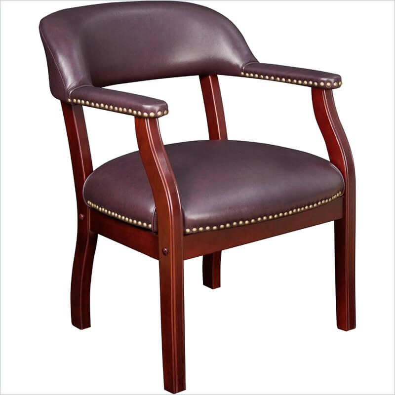 This is a beautiful captain accent chair that could be used as a reception chair or dining chair as well.