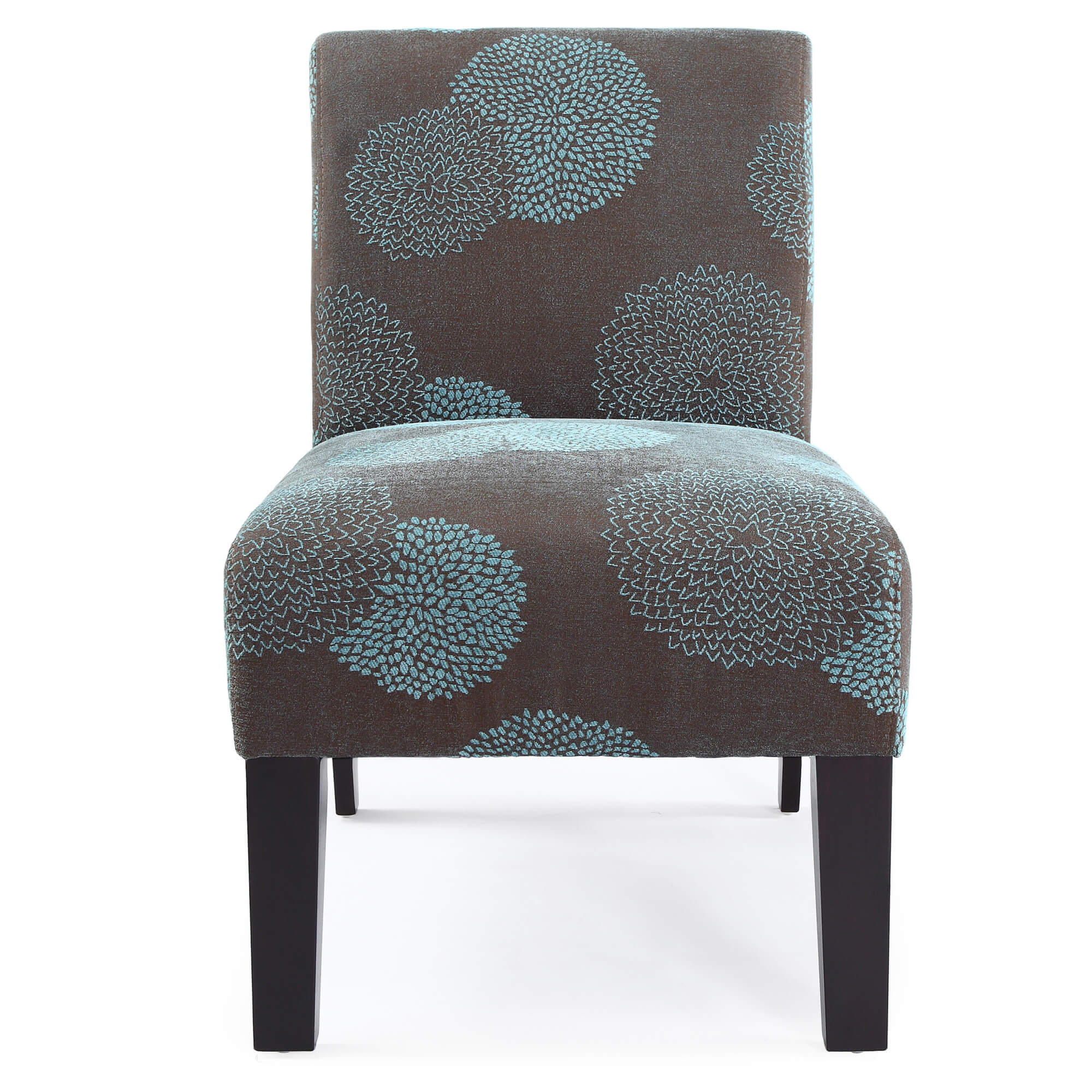 This grey and blue accent chair would fit nicely in a room with some blue (i.e. drapes, wall art, pillows, other furniture, etc.).