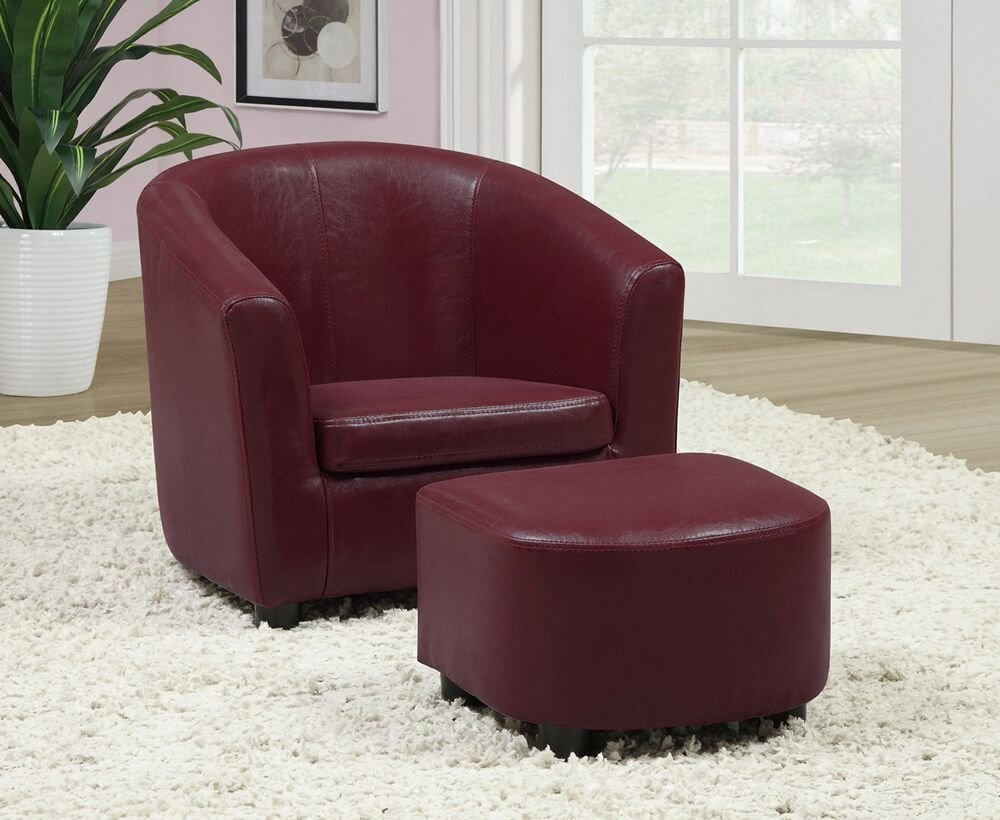 This rich burgundy accent chair with matching ottoman is built for comfort and style