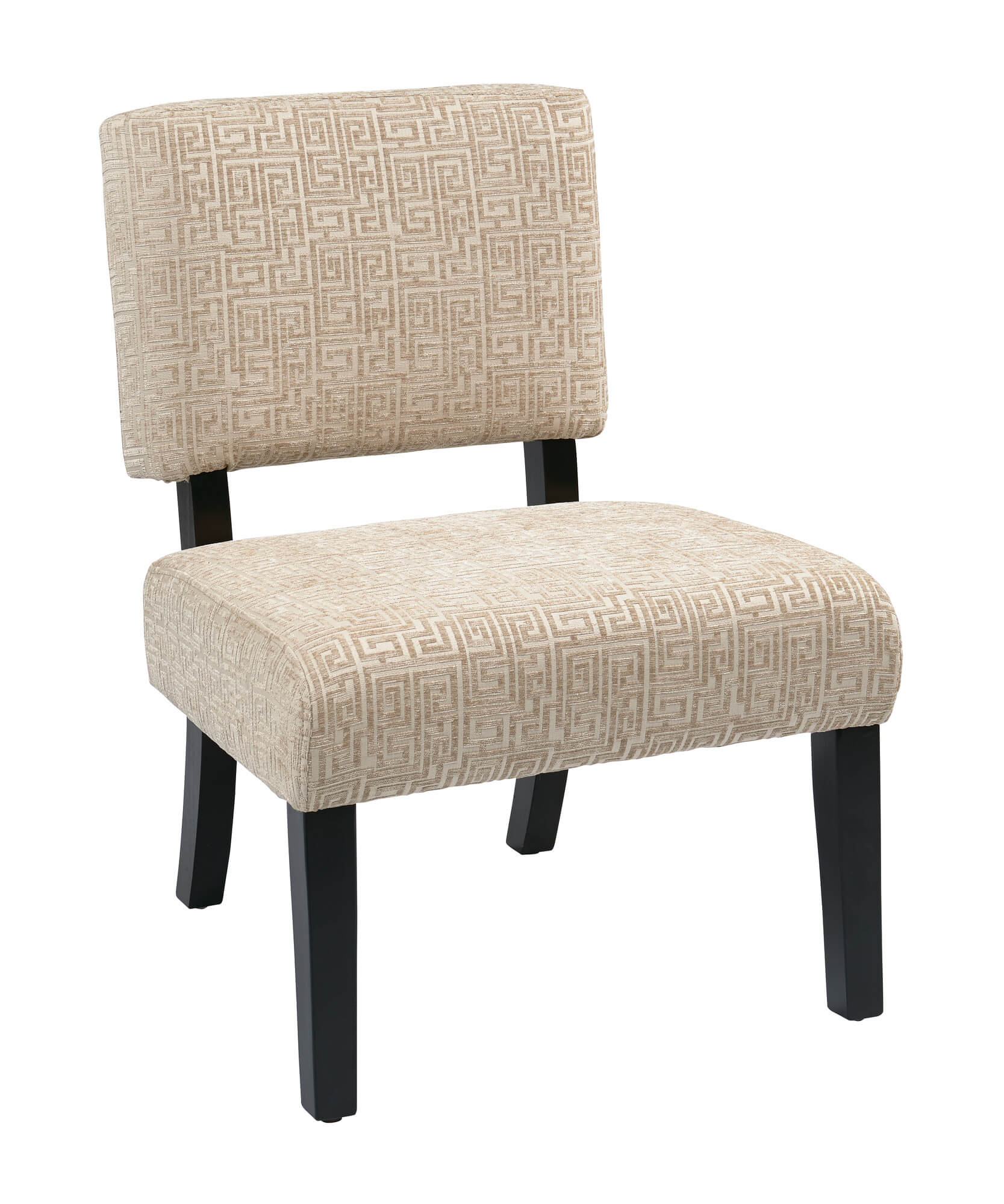 This accent chair is similar in design to other accent chairs in this gallery with a different upholstery pattern. This one with with its lighter fabric pattern would work well in many color schemes because it's more neutral