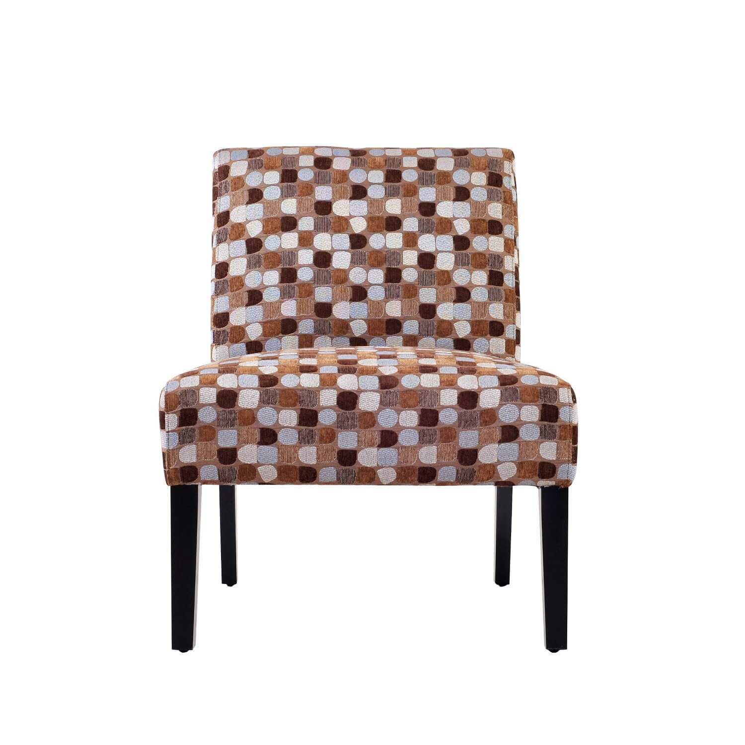 "This chair definitely lives up to its categorization as an ""accent chair."" It's a colorful pattern that with chocolate wood legs that would work well in any earth-tone dominant room"
