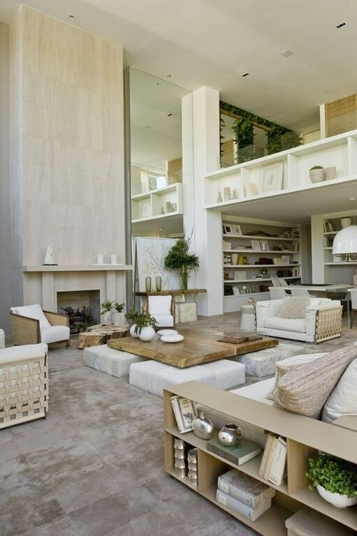 50 beautiful living rooms with ottoman coffee tables Loft living room ideas