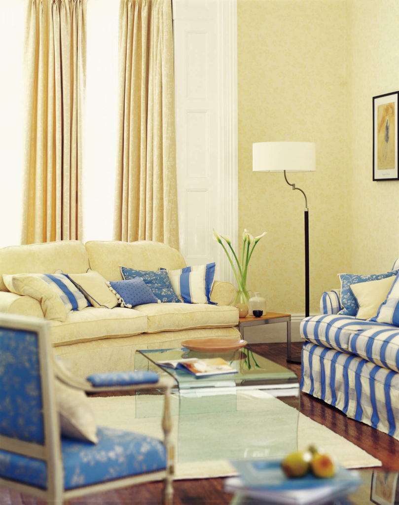 A Pale Butter Yellow And Cornflower Blue Living Room With Rich Hardwood  Flooring And Part 92