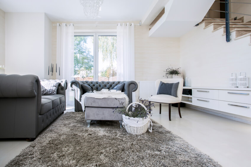 An Elegant Living Room In Dark Charcoal Gray And White, A Little More  Spacious Than Part 60
