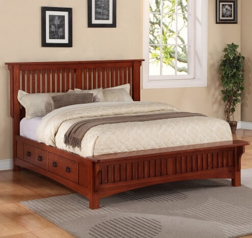 a solid bed frame in virginia oak with english dovetailed drawers the rustic stain makes