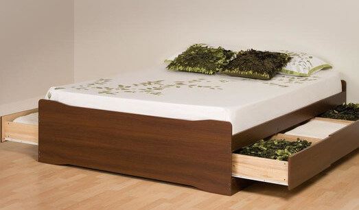 a sleek minimalist bed frame with two drawers that run the length of the frame
