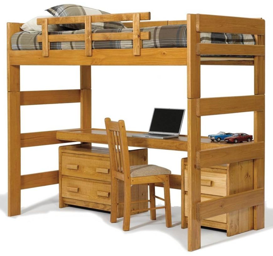 25 awesome bunk beds with desks perfect for kids for Single bunk bed