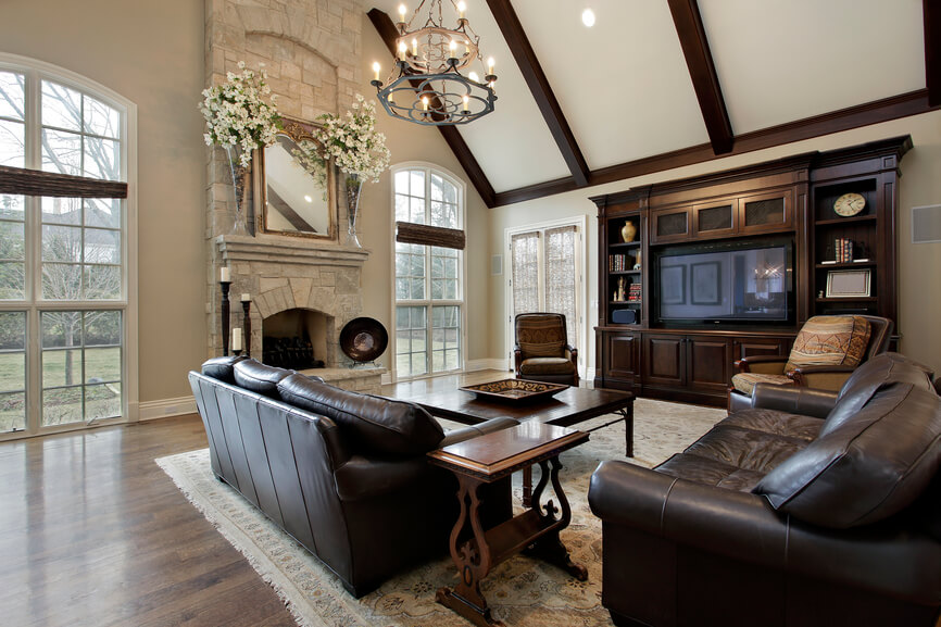 Amazing A Large Living Room With A Tall Light Stone Fireplace With Beautiful  Stonework. To The Part 10