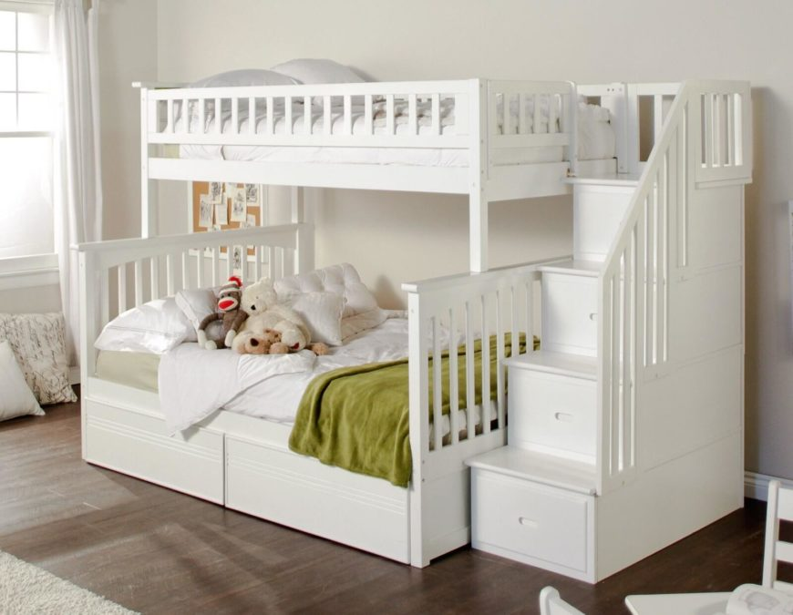 this pristine white painted bunk bed features a large full size lower bunk with hidden
