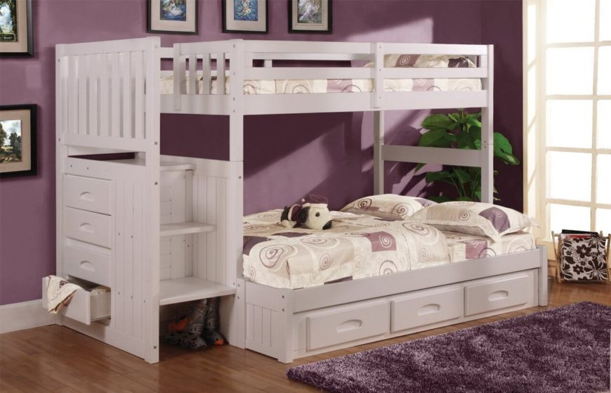 here we have a more bespoke white bunk bed with abundant builtin storage