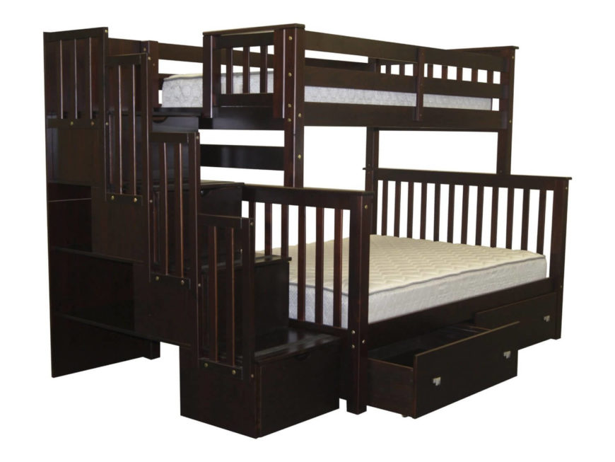 this rich coffee hued wood bunk bed features a larger lower bed as well as