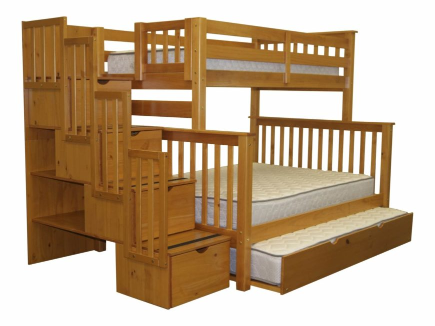 this natural wood bunk bed frame sports a third trundle style bed