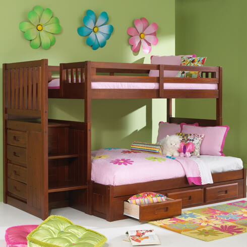 hereu0027s a rich wood frame bunk bed designed for kids in need of compact storage