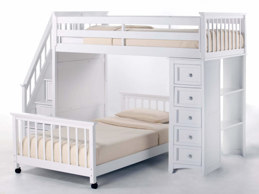 24 designs of bunk beds with steps kids love these - Bunk bed with drawer steps ...