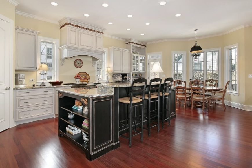 Perfect The Warm Hardwood Flooring And White Cabinetry Of This Broadly Open Kitchen  Design Make An Enticing Part 18