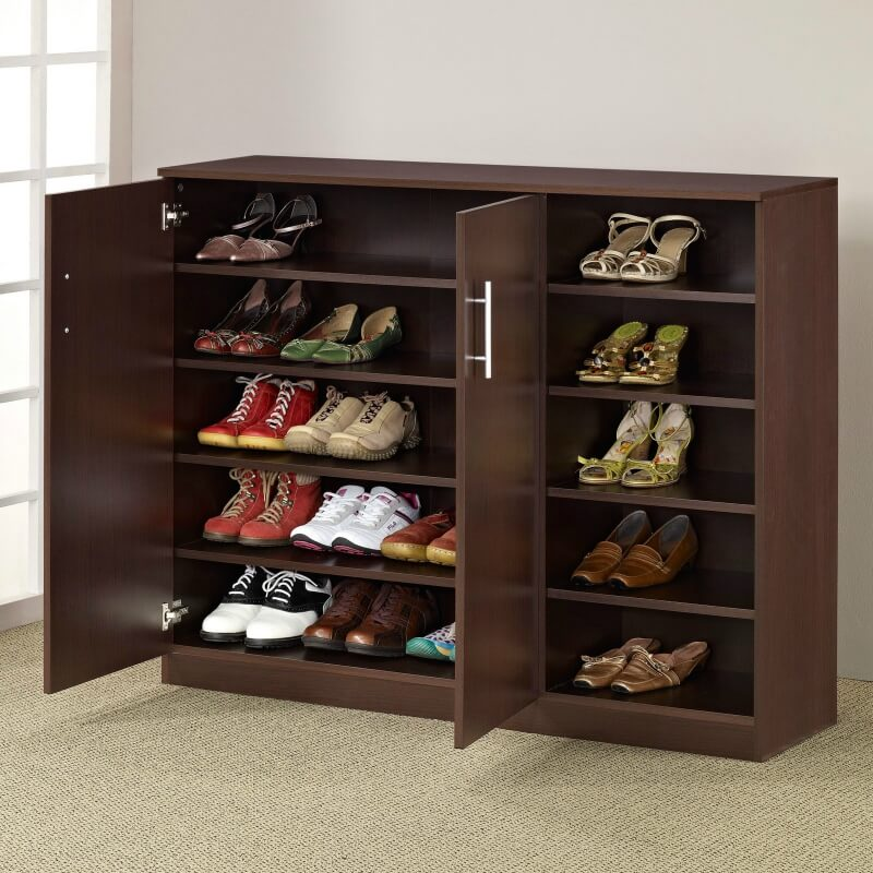 the closing doors of this cabinet hide your shoes while still keeping them organized dress