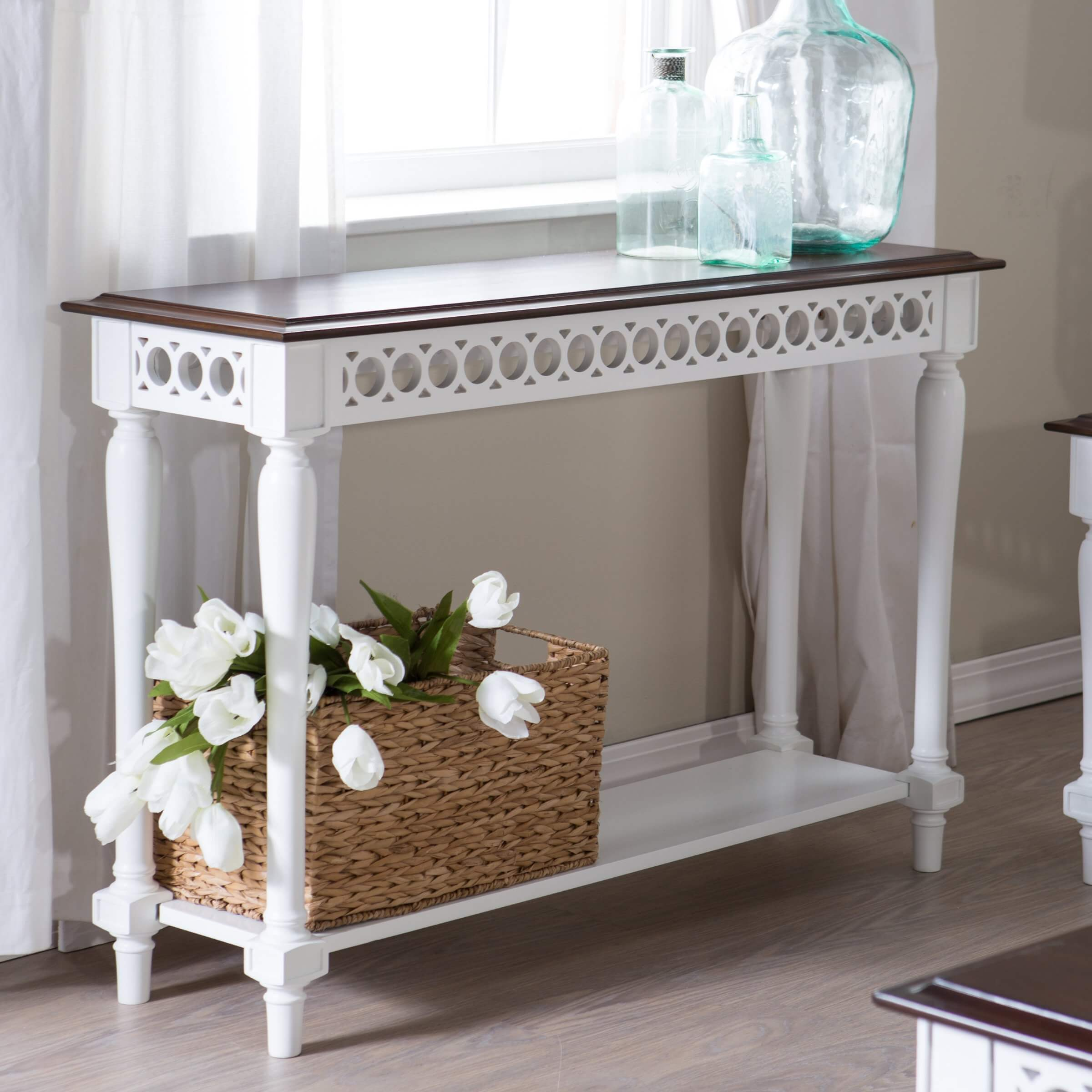 Foyer Table With Storage Portland Solid Wood 4 Drawer Console Table