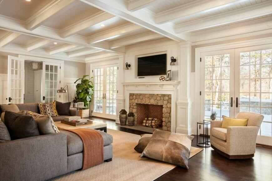 49 exuberant pictures of tv 39 s mounted above gorgeous - Living room layout with tv over fireplace ...