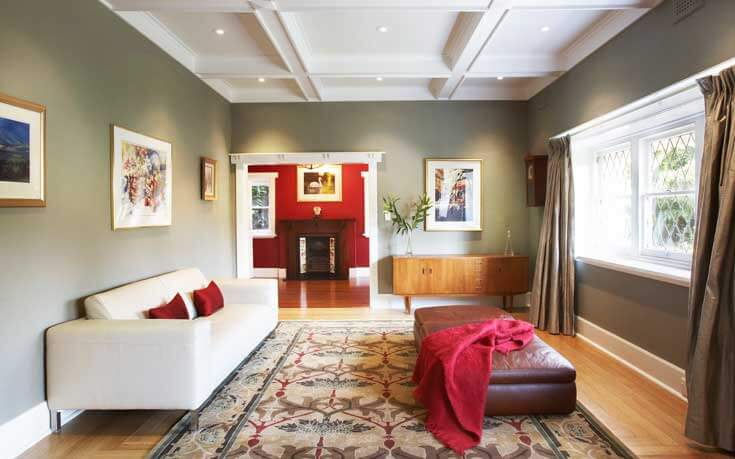 This Large Living Room Has An Open And Spacious Design. A Couch Sits  Against The