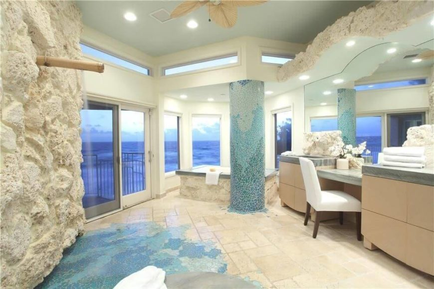 large bathroom surrounded by windows from floor to ceiling - Large Bathroom Designs