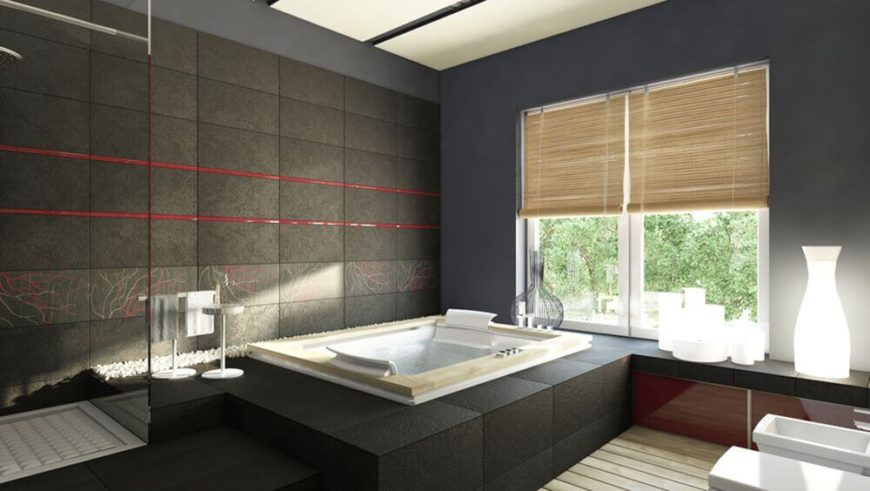 Large Bathroom Window with Roll-Down Blinds (Next to a Tub)