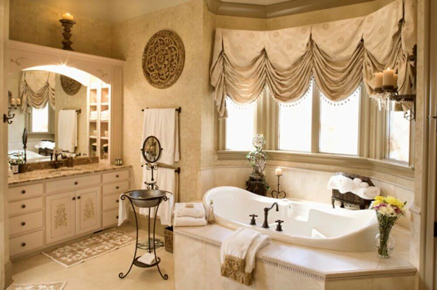large bay window with valiance next to tub - Bathroom Window