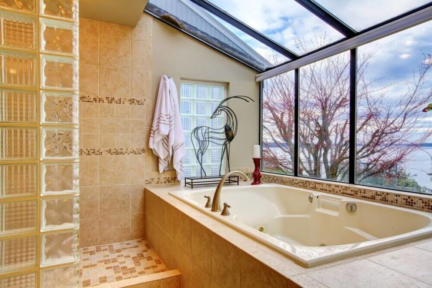 Bathroom with Solarium Window Next to and Above Bathtub