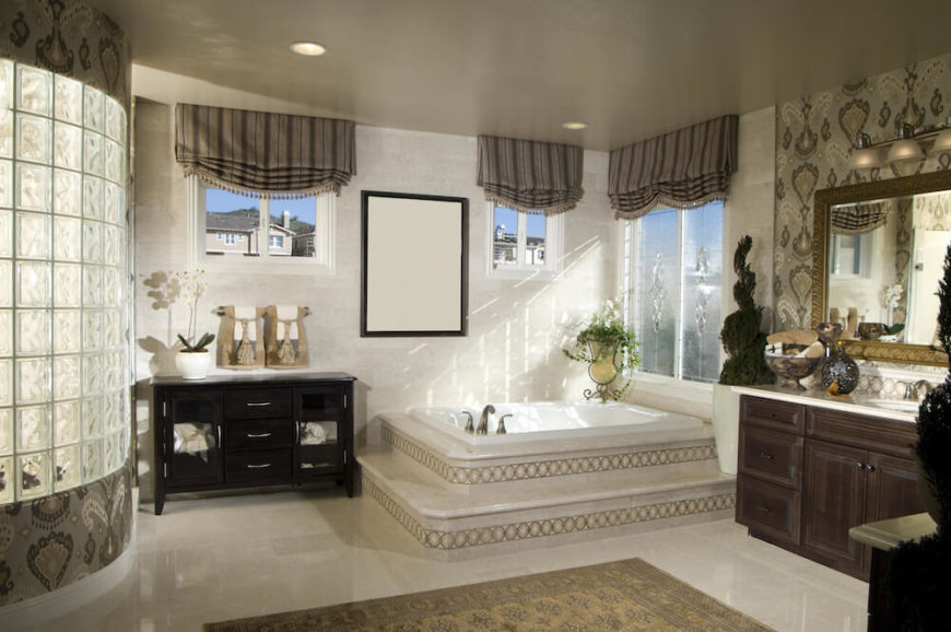 Bathroom with 2 Windows in Elevated Position. 40 Master Bathroom Window Ideas
