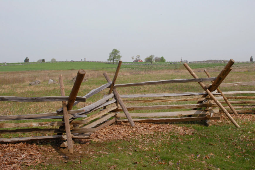 A much more rustic split rail fence with diagonal supports. This technique is used in windy areas to further support the already sturdy and freestanding fence.