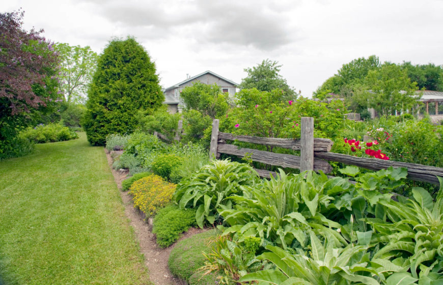 A rustic split rail fence used to separate different sections of a large planting bed. In this case, the fence is used mostly for decorative purposes.