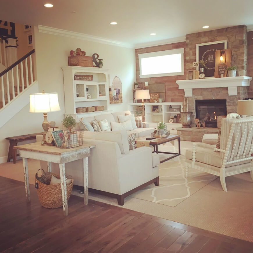 here is a shabby chic room with classic distressed painted furnishings and the bright color - Distressed Living Room 2016