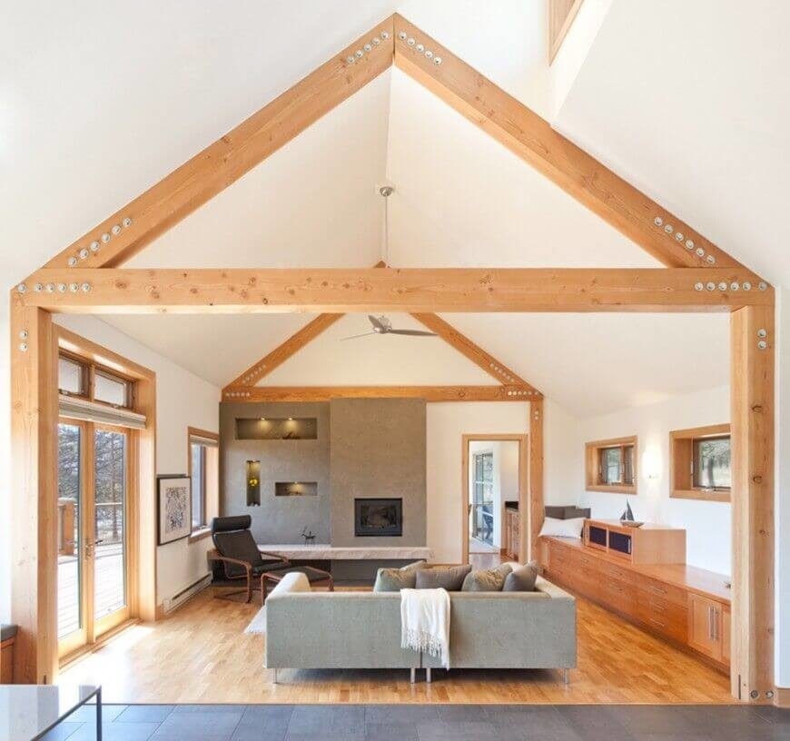 60 fantastic living room ceiling ideas for Vaulted ceiling exposed beams