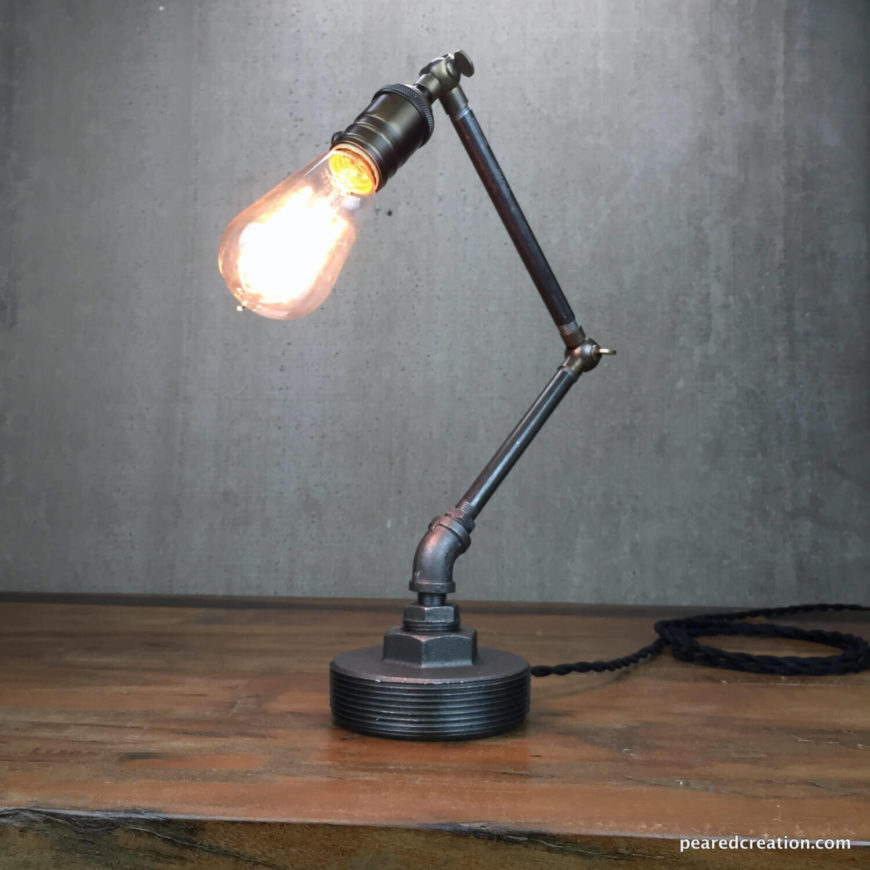 industrial task lighting. this elegant industrial task light will fit in a variety of rooms including bedrooms and home lighting