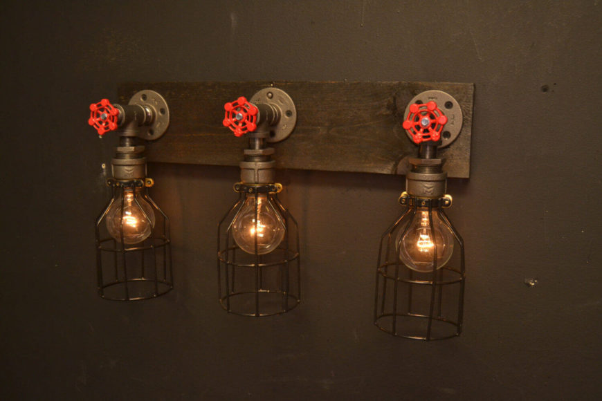 industrial bathroom lighting etsy. this series of three lights is perfect for a bathroom vanity, featuring matching faucets, industrial lighting etsy t