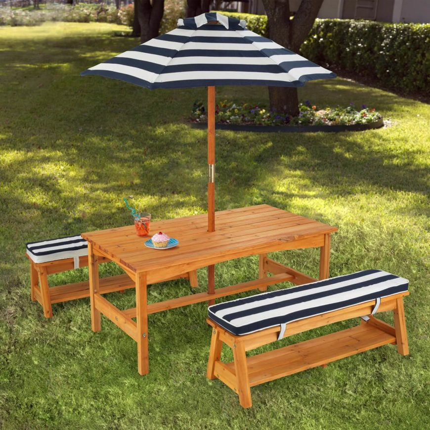 This Fun Picnic Table With Detached Benches Uses A Nice Umbrella Feature To  Add Some Shade