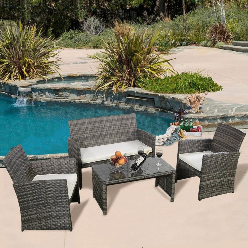comfortable patio furniture. This Lovely Set Of Furniture Has Comfortable Padded Seats Strong Metal Frames And A Patio