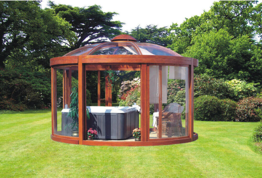 Gazebos can serve many purposes and house many different features. This gazebo is being used to house a hot tub so that residents can enjoy a nice dip in all weather.
