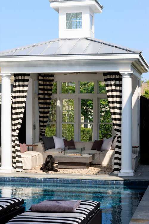 With a little work your hardtop gazebo can feel like an additional miniature home. This gazebo has a wall of windows, curtains for privacy, and furniture to make this area as comfortable as possible.