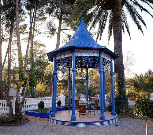 You can make a statement with your gazebo by painting it or adding a unique design element