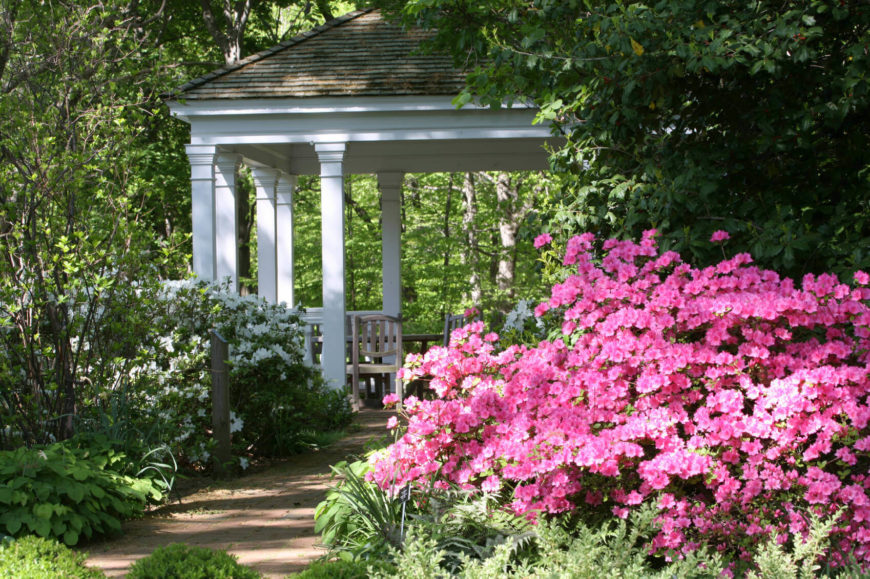 This large gazebo is surrounded by a number of different flowers. The varied flowers introduce color, depth, and interest to this space and liven up the gazebo. It could very well function as a gathering spot for parties.